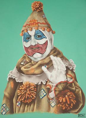 John Wayne Drawing - John Wayne Gacy As Pogo The Clown by Brent Andrew Doty