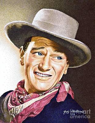 John Wayne Drawing - John Wayne by Judy Skaltsounis