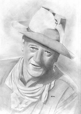 John Wayne Drawing - John Wayne by Pat Moore