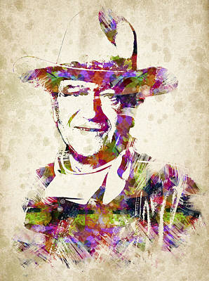 Duke Digital Art - John Wayne Portrait by Aged Pixel
