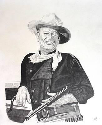 John Wayne Drawing - John Wayne Posing by Randy Mitchell