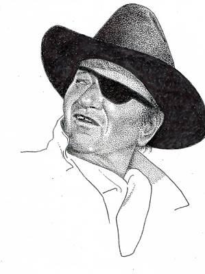 John Wayne Drawing - John Wayne by Richard Johns