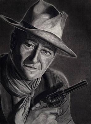 John Wayne Drawing - John Wayne by Steven Charte