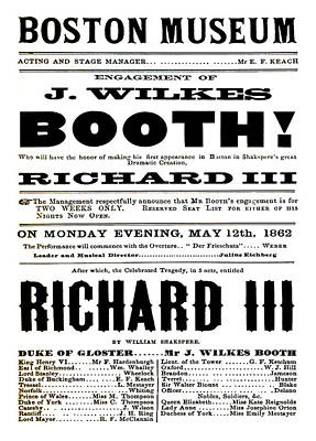 Stratford Mixed Media - John Wilkes Booth Playbill by Charlie Ross