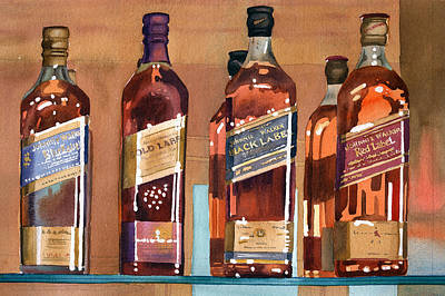Bottles Painting - Johnnie Walker by Mary Helmreich