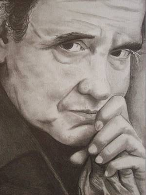 Johnny Cash Drawing - Johnny by Amber Stanford