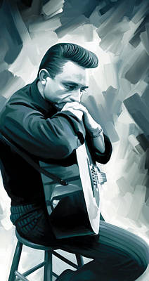 Actors Mixed Media - Johnny Cash Artwork 3 by Sheraz A