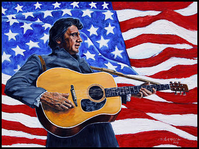 Singer Painting - Johnny Cash by John Lautermilch