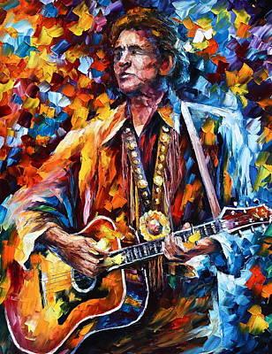 Johnny Cash Painting - Johnny Cash New by Leonid Afremov