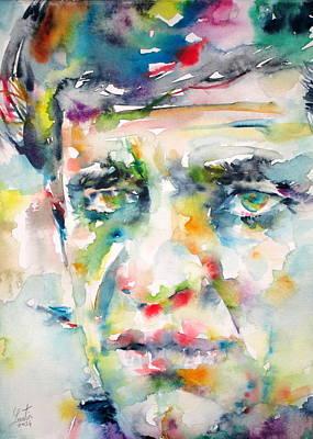 Nashville Painting - Johnny Cash - Watercolor Portrait by Fabrizio Cassetta