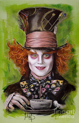 Alice In Wonderland Drawing - Johnny Depp As Mad Hatter by Melanie D