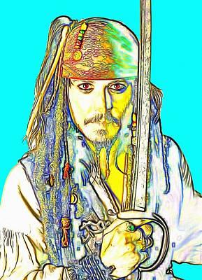 Johnny Depp Digital Art - Johnny Depp In Pirates Of The Caribbean by Art Cinema Gallery