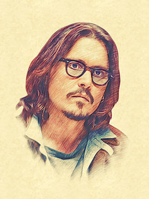 Johnny Depp Print by Marina Likholat