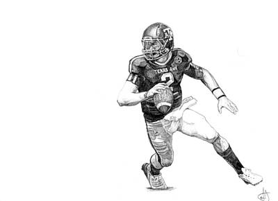 Texas A Drawing - Johnny Football by Joshua Sooter