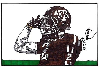 Football Art Drawing - Johnny Manziel The Salute by Jeremiah Colley