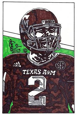 Texas A Drawing - Johnny Manziel 6 by Jeremiah Colley