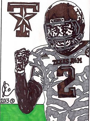 Texas A Drawing - Johnny Manziel 9 by Jeremiah Colley