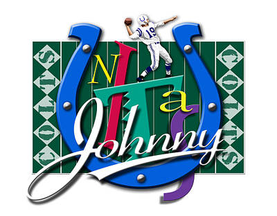Johnny Unitas Baltimore Colts Print by Ron Regalado
