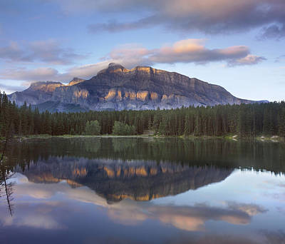 Johnson Lake And Mt Rundle Banff Print by Tim Fitzharris
