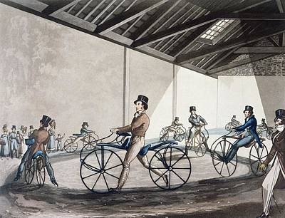 Gentleman Photograph - Johnsons Pedestrian Hobbyhorse Riding School, 1819 Colour Litho by Henry Alken