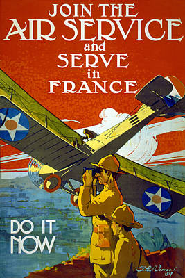 Us Propaganda Drawing - Join The Air Service, 1917 by J. Paul Verrees