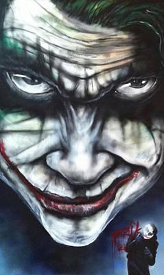 Heath Ledger Painting - Joker by Chris Prik