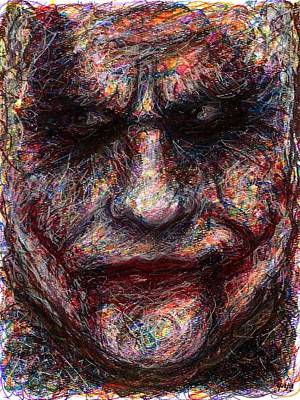 Heath Ledger Drawing - Joker - Face I by Rachel Scott