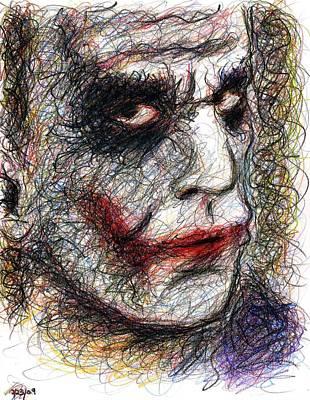 Heath Ledger Drawing - Joker - Pout by Rachel Scott