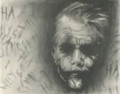 Dark Evil Scary Drawing - Joker by Raquel Ventura