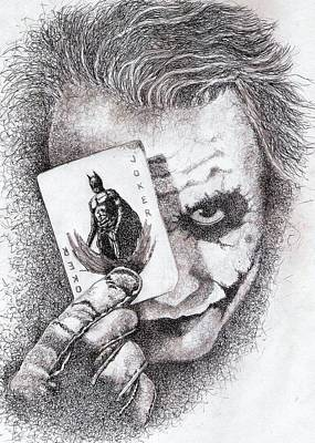 Heath Ledger Drawing - Jokers Last Deal by Paul Smutylo