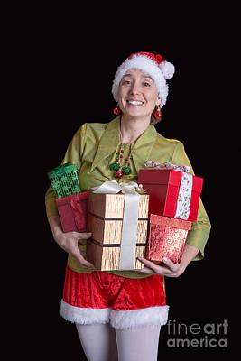 Helping Photograph - Jolly Elf Christmas Card by Edward Fielding