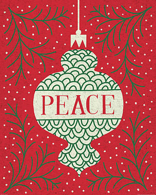 Christmas Painting - Jolly Holiday Ornaments Peace by Michael Mullan