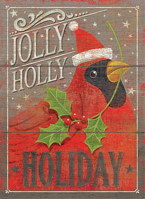 Jolly Holly Holiday Print by P.s. Art Studios
