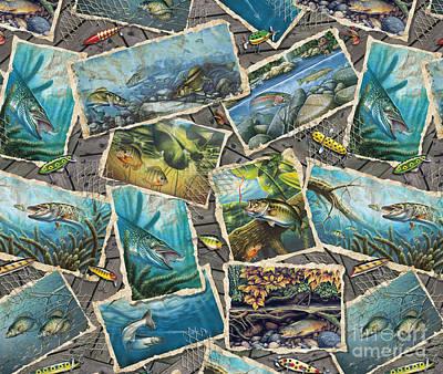Jon Q Wright Fish Paintings Pillow Print by Jon Q Wright