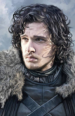 Print Mixed Media - Jon Snow - Game Of Thrones Artwork by Sheraz A
