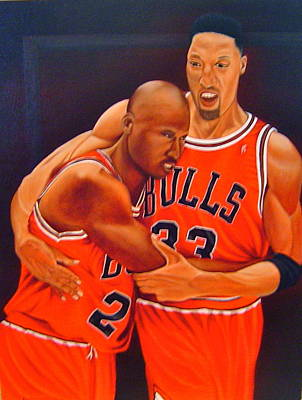 Michael Jordan Portrait Painting - Jordan And Pippen by Yechiel Abramov
