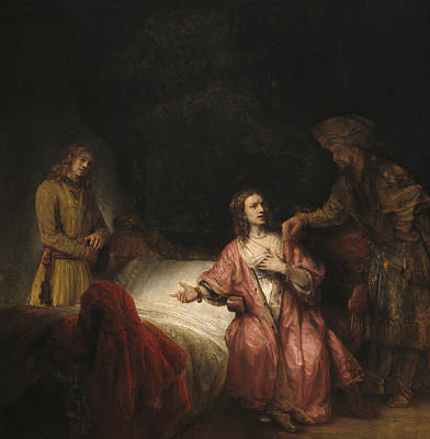 Joseph Accused By Potiphar's Wife Print by Rembrandt