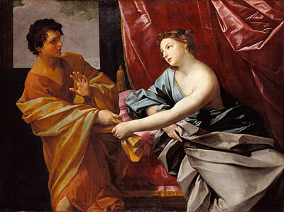 Guido Reni Painting - Joseph And Potiphar's Wife by Guido Reni