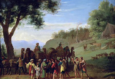 Joseph Sold By His Brothers Oil On Canvas Print by Herman van Swanevelt