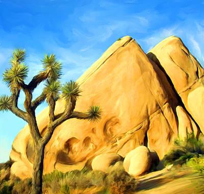 Trees Painting - Joshua Tree Pyramids by Snake Jagger