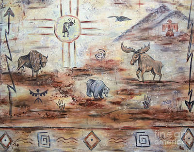 Bufffalo Painting - Journey Of A Kokopelli by Kally Wininger