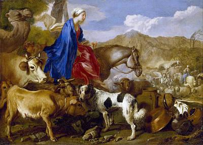 Rebecca Painting - Journey Of Rebecca by Giovanni Benedetto Castiglione