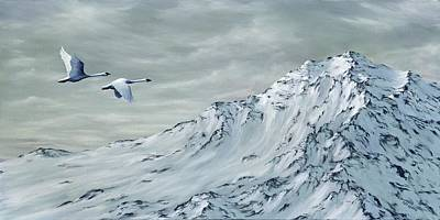 Snowscape Painting - Journey by Rick Bainbridge