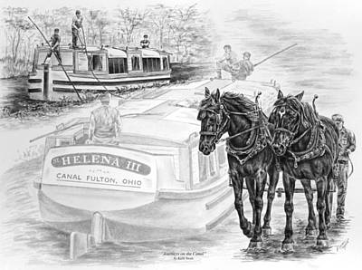 Draft Horses Drawing - Journeys On The Canal - Canal Boat Print  by Kelli Swan