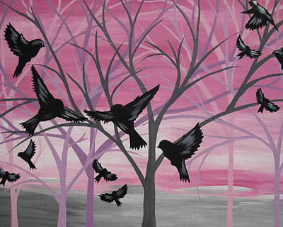 Pink Black Tree Rainbow Painting - Joy At Sunset by Cathy Jacobs