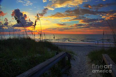 Joy Comes In The Morning Sunrise Carolina Beach Nc Print by Wayne Moran