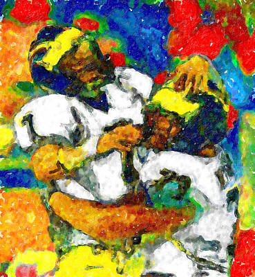 University Of Michigan Painting - Joy Endzone Joy by John Farr