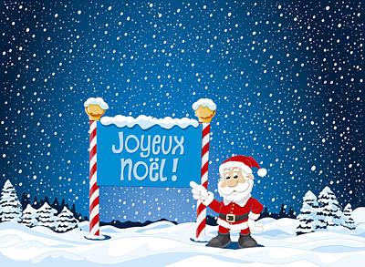 Joyeux Noel Sign Santa Claus Winter Landscape Print by Frank Ramspott