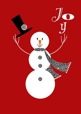 Joy Mixed Media - Joyful Snowman by Valerie Drake Lesiak