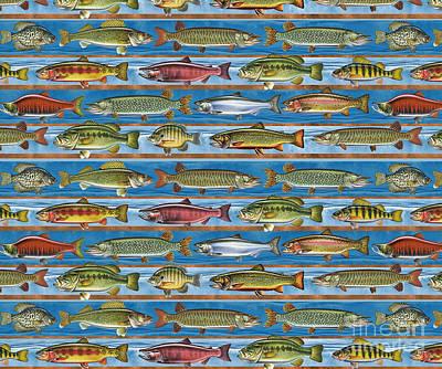 Jqw Fish Row Pillow Print by Jon Q Wright